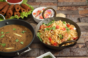 Vegetable Rice with Dal Makhani, Indian Food