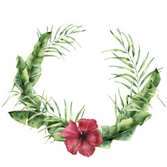 Watercolor tropical wreath with exotic leaves and flower. Hand painted coconut and banana palm tree branch, hibiscus isolated on white background. Floral frame for design, print or background