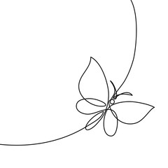 Continuous one line drawing. Flying butterfly logo. Black and white vector illustration. Concept for logo, card, banner, poster, flyer