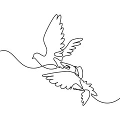 Continuous one line drawing. Flying two pigeons logo. Black and white vector illustration. Concept for logo, card, banner, poster, flyer