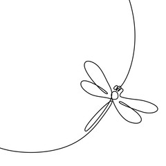 Continuous one line drawing. Flying dragonfly logo. Black and white vector illustration. Concept for logo, card, banner, poster, flyer