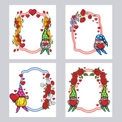 Set of labels with roses and cute gnome holding heart. Design element for holiday decorations, greetings, Valentine day and birthday cards. Vector clip art.
