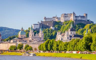 Wall Mural - Beautiful view of Salzburg,  Fortress Hohensalzburg  and Salzach river in summer, Salzburg, Salzburger Land, Austria