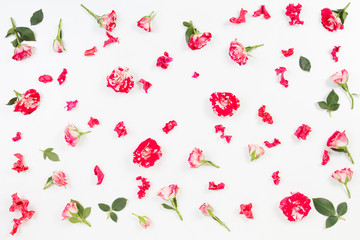 Floral pattern made of roses, green leaves, branches on white background. Flat lay, top view.