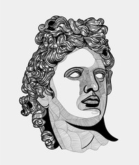 Classical Sculpture. Apollon. Vector illustration hand drawn