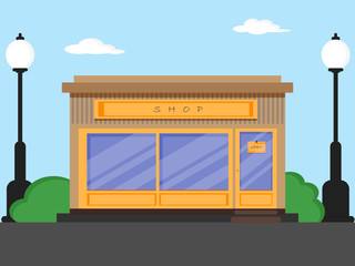 Flat design shop with front door,window , street lamps,clouds and bushes