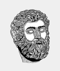 Classical Sculpture. Poseidon. Vector illustration hand drawn