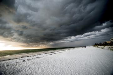 big storm at the beach dark clouds
