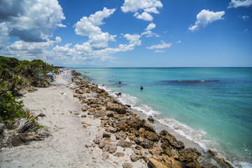 long rocky coast line of beach