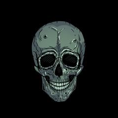Skull vector illustration tattoo, hand drawn. T-shirt print. Colors