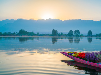 Sunrise on Dal lake, Kashmir India .