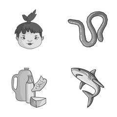 history, food and other monochrome icon in cartoon style.fishing, sea icons in set collection.