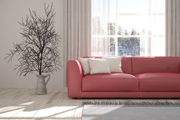 Inspiration of white room with sofa and winter landscape in window. Scandinavian interior design. 3D illustration