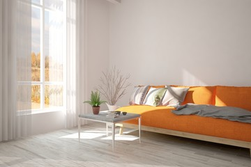 White minimalist room with orange sofa. Scandinavian interior design. 3D illustration
