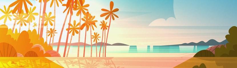 Sea Shore Beach On Sunset Beautiful Seaside Landscape Summer Vacation Concept Flat Vector Illustration