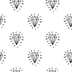 Vector seamless cartoon pattern with blue diamonds. Hand drawn black and white jewerly pattern for paper, textile, handmade decoration, scrap-booking, polygraphy, clothes, cards.