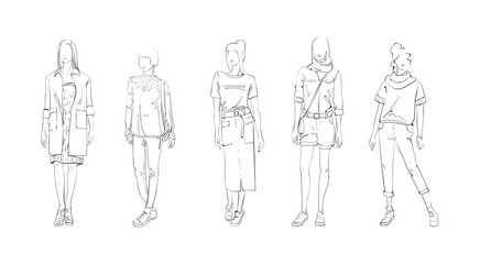 Fashion Collection Of Clothes Female Models Set Wearing Trendy Clothing Vector Illustration