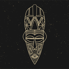 Vintage line old mask. Vector illustration. Hand drawn. Black and gold