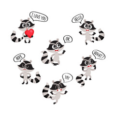 Cute raccoon character showing different emotions with speech bubbles, cartoon vector illustration isolated on white background. Funny little raccoon character saying words, showing emotions