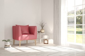 White room with red armchair and summer landscape in window. Scandinavian interior design. 3D illustration