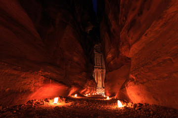 The Treasury, Petra By Night. An Ancient City of Petra, Al Khazneh, Jordan