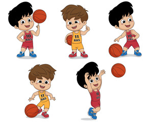 Set of kid playing basketball.