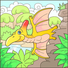 Cartoon cute pterodactyl funny illustration