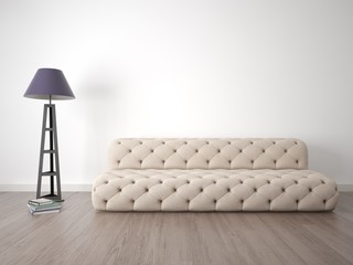 Mock up the living room with a soft sofa against the white wall.