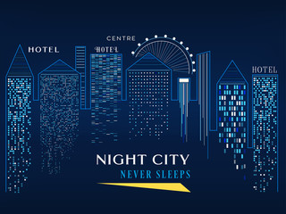 Night city skyline vector illustration graphic isolated poster