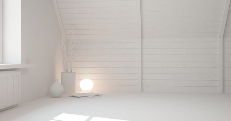 Idea of white empty room with lamp. Scandinavian interior design. 3D illustration