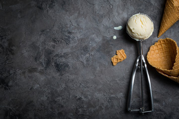 Vanilla ice cream on rustic background