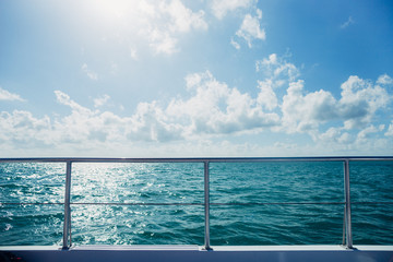 boat ride on tropical ocean
