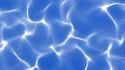 white abstract waves on blue background - shape made of dots