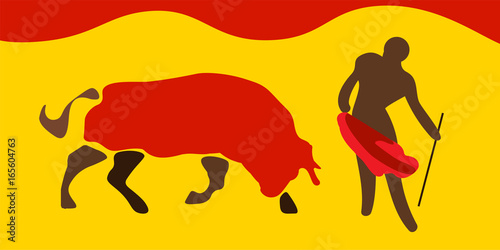 Vector Illustration For Traditional Spanish Corrida Bull And