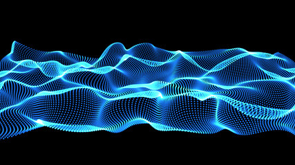blue abstract waves on black background - shape made of dots
