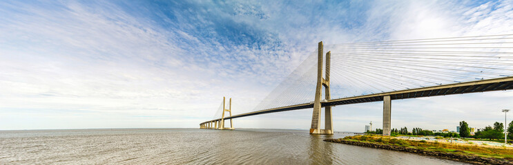 Vasco da Gama bridge in Lisbon panoramic view