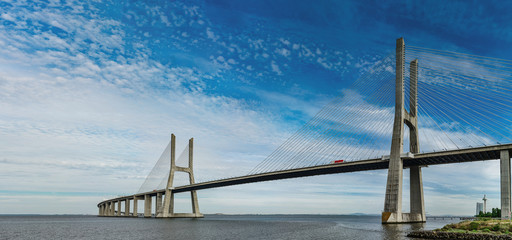 Vasco da Gama bridge in Lisbon panoramic view