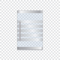 Glass door with metal handle on a transparent background. Vector illustration.