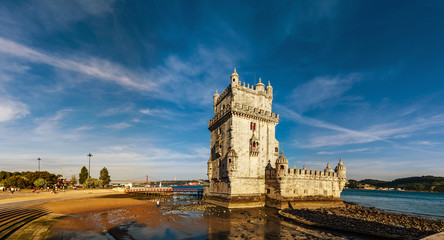 Beautiful ancient Belem tower panoramic view at sunset, Lisbon
