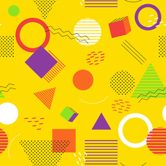 Memphis seamless pattern  on background. Memphis style. Colorful geometric seamless pattern. Vector Illustration