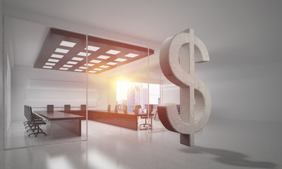 Money making and wealth concept presented by stone dollar symbol in office room