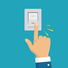 Isometric icon. Hand turning on the light switch. Toggle switch. Electric control concept. Vector graphic