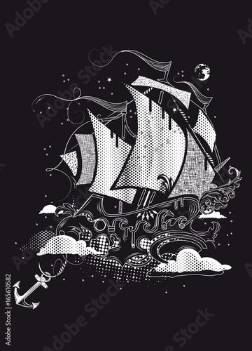 Segelschiff bleistiftzeichnung  Segelschiff in den Wolken Fantasie Zeichnung