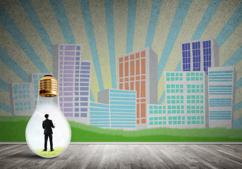 Businessman trapped in bulb