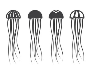 collection of monochrome jellyfish icon