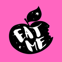 Silhouette of an apple with stars and lettering text Eat Me. Vector  label on pink background.