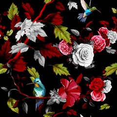 Humming bird, roses, peony with leaves on black. Stylized. Watercolor. Seamless background pattern. Vector - stock.