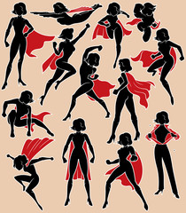 Super Heroine in Action / Super heroine silhouette in 13 different poses.