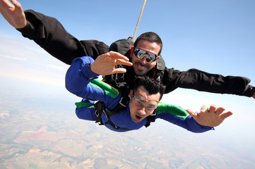 Wall Murals Sky sports Skydive tandem friends