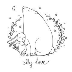 Lovely cartoon bear and hare. Happy animals.